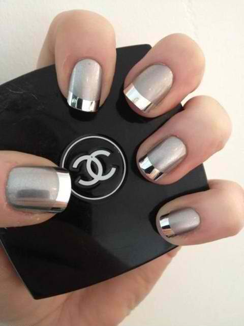 Silver-metallic-french-nails
