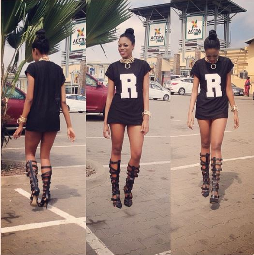 Yvonne Nelson in Gladiator Heels and Polo with no bottom